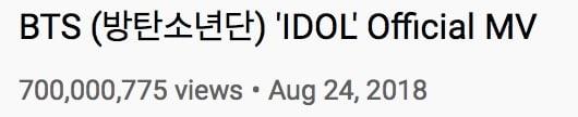 BTS-IDOL-MV-Views